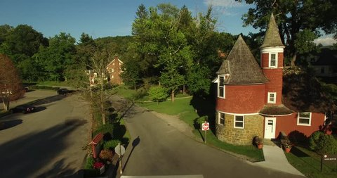 Aerial view of the Gate House on the campus of Davis & Elkins College in Elkins, WV.