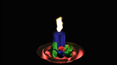 burning blue advent candle on red glass plate