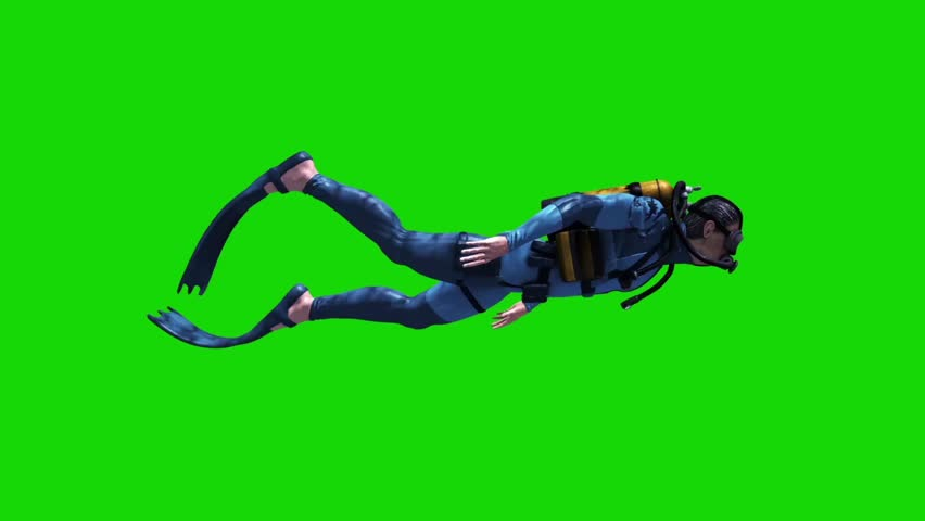 Diver Swimcycle Scuba Diving Cylinders Side Green Screen 3D Rendering Animation