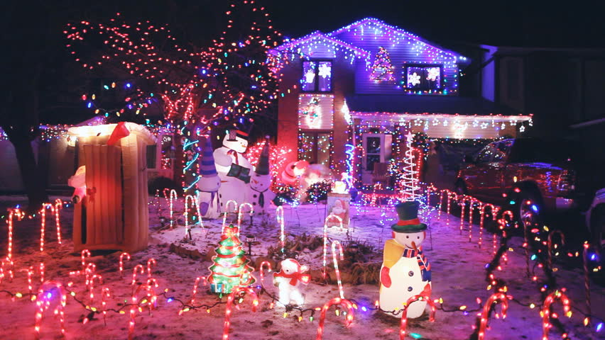north american houses brightly light stock footage video 100 royalty free 3254698 shutterstock - American Christmas
