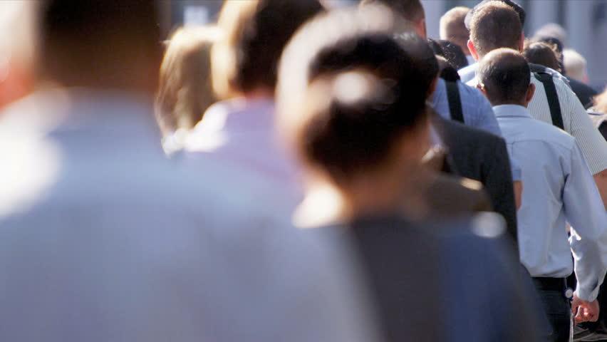 Close up upper body shot city commuters walking to work | Shutterstock HD Video #3258979