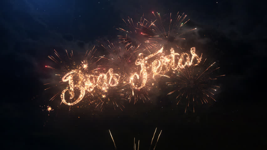 Happy Holidays greeting text in Portugal with particles and sparks on black night sky with colored slow motion fireworks on background, beautiful typography magic design. | Shutterstock HD Video #32615713