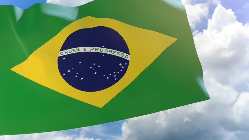 3D rendering of Brazil flag waving on blue sky background with Alpha channel can change background later, The Independence Day of Brazil commonly called Sete de Setembro