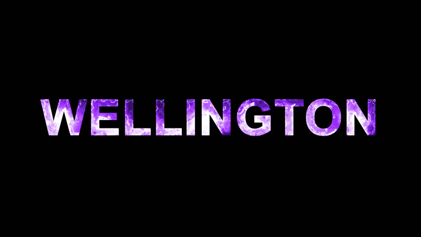 Luminous and shimmering haze inside the letters of the capital name WELLINGTON. Transparent, Alpha channel | Shutterstock HD Video #32643448
