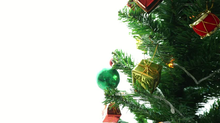 christmas and new year decoration hd stock video clip - Green Christmas Tree Decorations