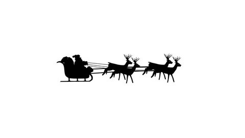 Christmas Santa Claus flying in his sleigh with Christmas gifts pulled by his reindeer. Tiny figure. Silhouette Animation, Looping. Flies through the screen. Black on white background.