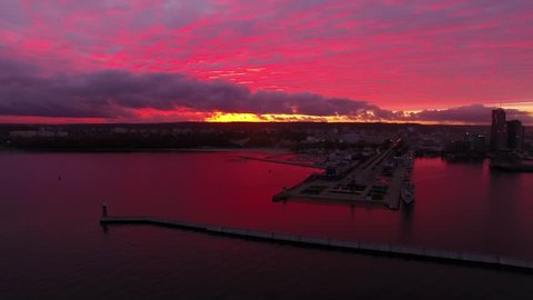 Aerial view of the port of Gdynia in sunset