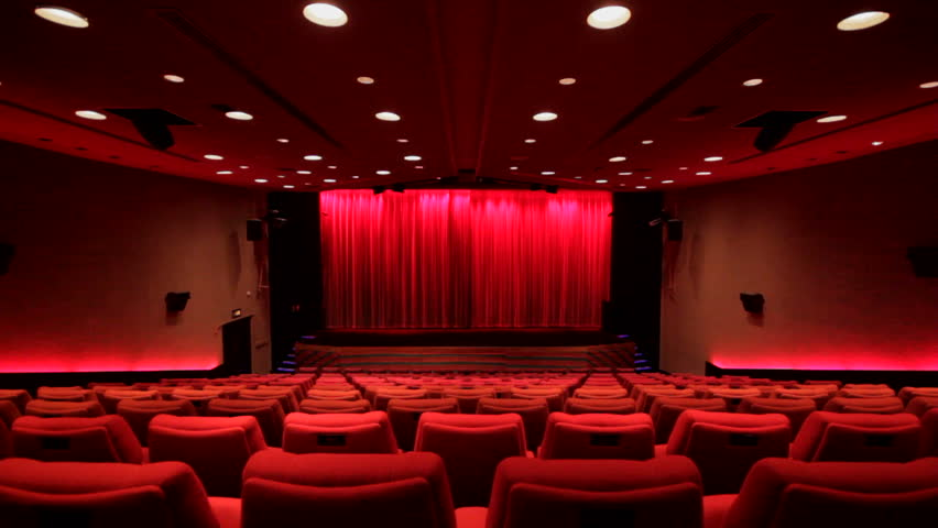 Empty Auditorium Red Chairs In Rows Stock Footage Video