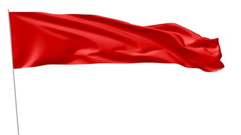 Long blank plain red flag on flagpole flying and waving in the wind, 3D animation with luma matte alpha channel included