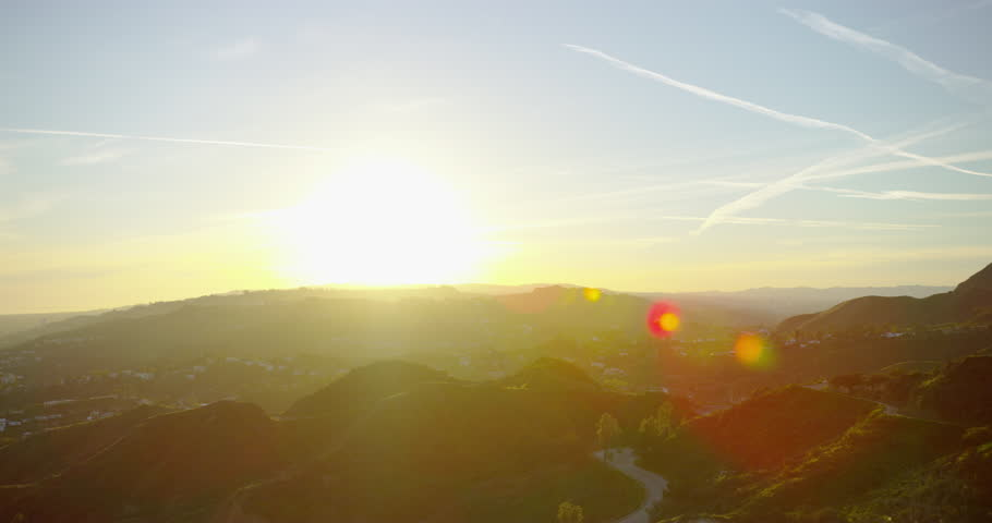 The famous Hollywood Sign at sunset in Los Angeles, California. | Shutterstock HD Video #32688268