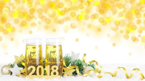 new year celebration with champagne glasses 2018 cinema graph new year bubbling champagne flutes saying