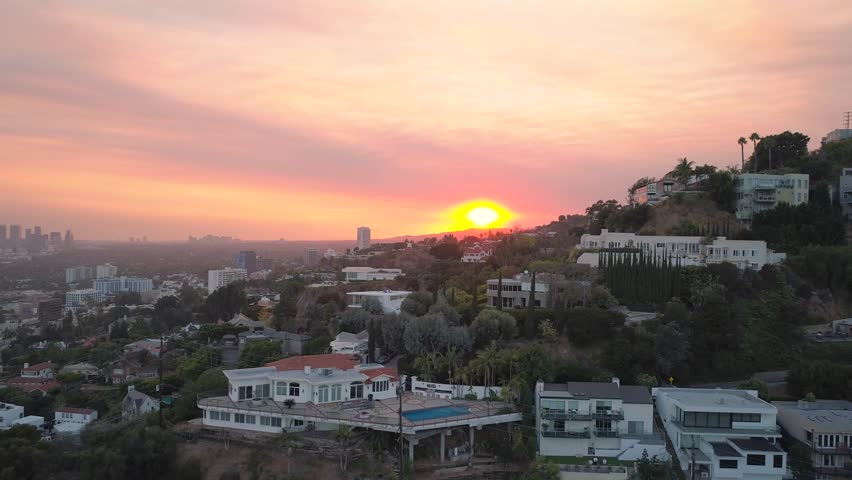 Sunset boulevard hills at sunrise drone | Shutterstock HD Video #32735338