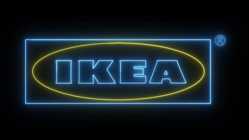 Ikea Logo With Neon Lights Editorial Animation