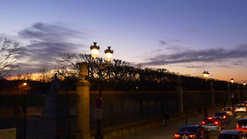 Evening illumination paris famous double-decker bus ride street pov panorama 4k france | Shutterstock HD Video #32763520
