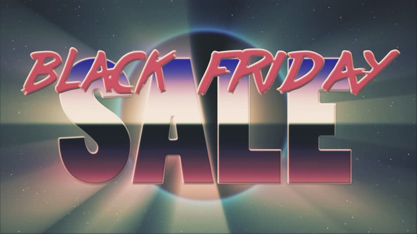 shiny retro 80s style lazer black friday sale text fly in and out on sun hole stars animation background -new unique vintage beautiful dynamic joyful colorful video footage