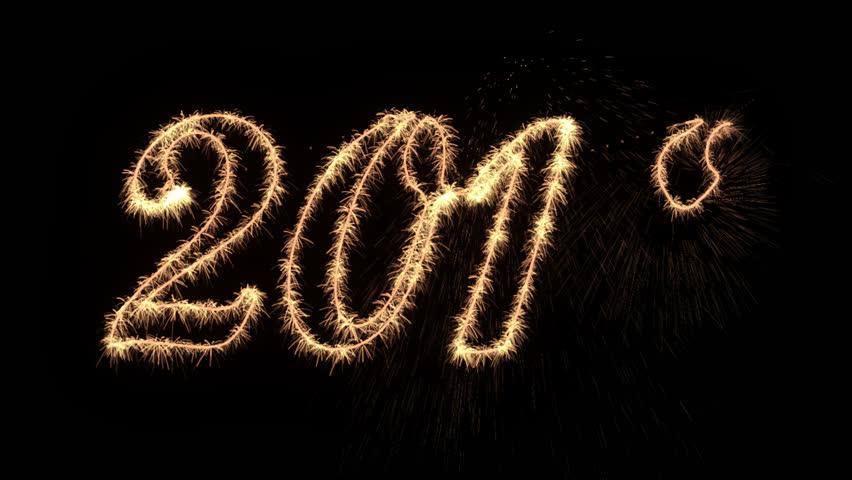 Happy New Year 2018 sparkler Writing, Alpha