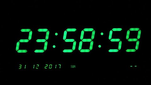 Green Digital LED Clock Starting Countdown 10 seconds to 2018 on black background