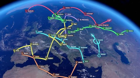 Localization, GPS Navigation, Traveling, Pathfinding over the Europe. Global Positioning System. City Names and Locations in Europe.