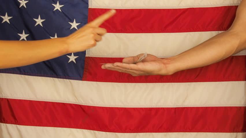 Hand asking for money. American flag. Hand giving dollars. | Shutterstock HD Video #32820742
