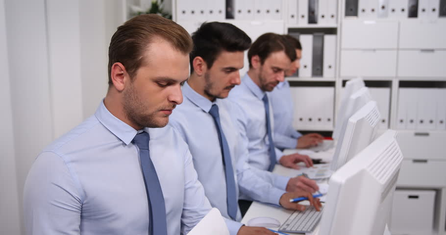 Group of Business Office Personnel Browsing Computer Work in Company Workplace | Shutterstock HD Video #32842468