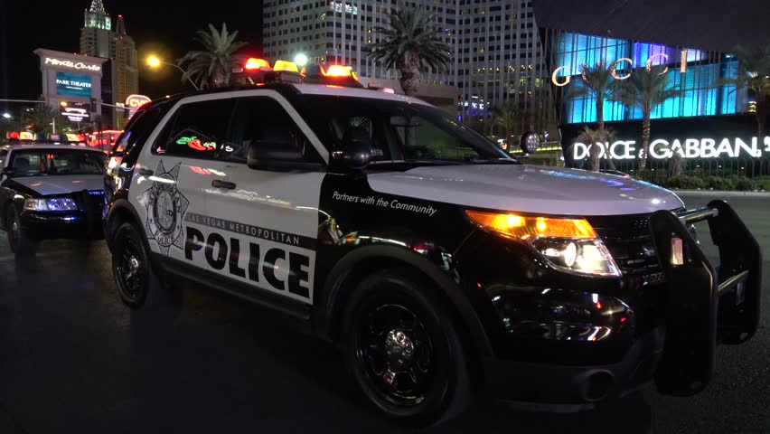 Las Vegas Police Car at the strip by night - LAS VEGAS / NEVADA - OCTOBER 12, 2017 | Shutterstock HD Video #32843776