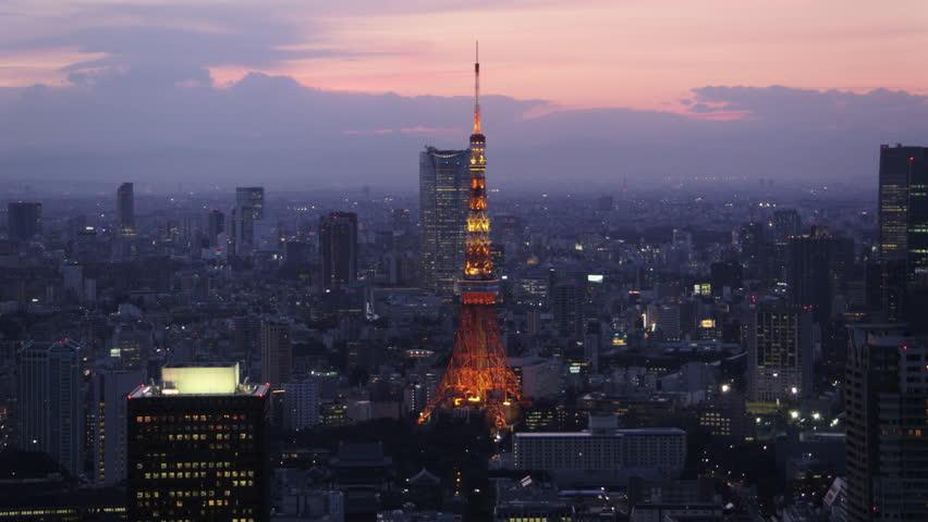 Japan Tokyo Aerial v142 Flying low along Minato cityscape Tokyo tower dusk 2/17