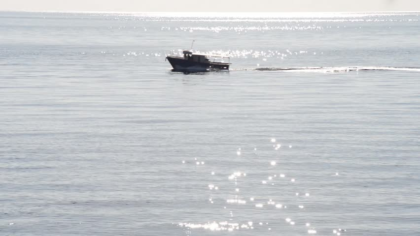 Fisherman with motor boat sailing the quiet sea | Shutterstock HD Video #32865778