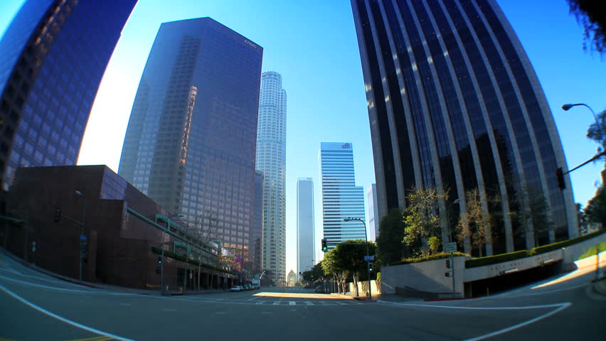 """Point-of-view"" with fish-eye driving in downtown Los Angeles"