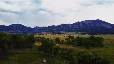 Aerial shot, flat irons boulder Colorado.