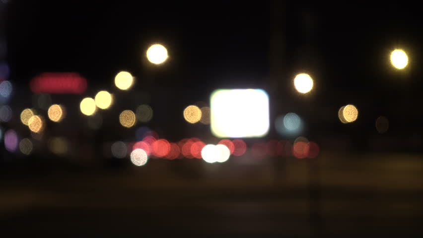 Defocused lights Los Angeles street abstract . City blur background. Moving bokeh circles of night traffic. | Shutterstock HD Video #32888458