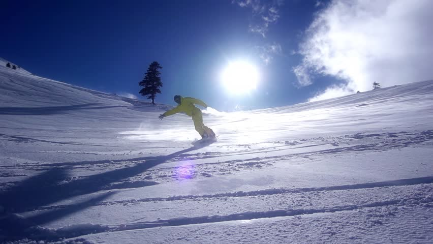 Snowboarder Downhill Super Slow Motion #3290018