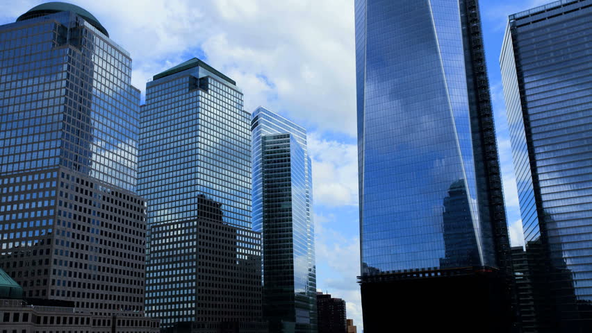 NEW YORK - CIRCA 2012: Time lapse daytime view of Freedom tower and World Financial Center in New York City, NY circa 2012.