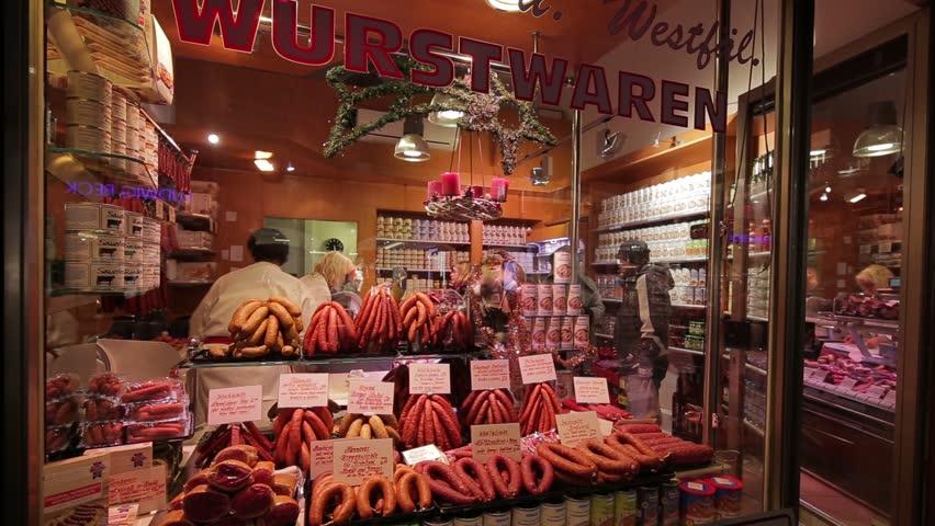 MUNICH, GERMANY - 08 Dec 2015: - Wurstwaren sausage shop on 08 Dec 2015, in Munich, Germany