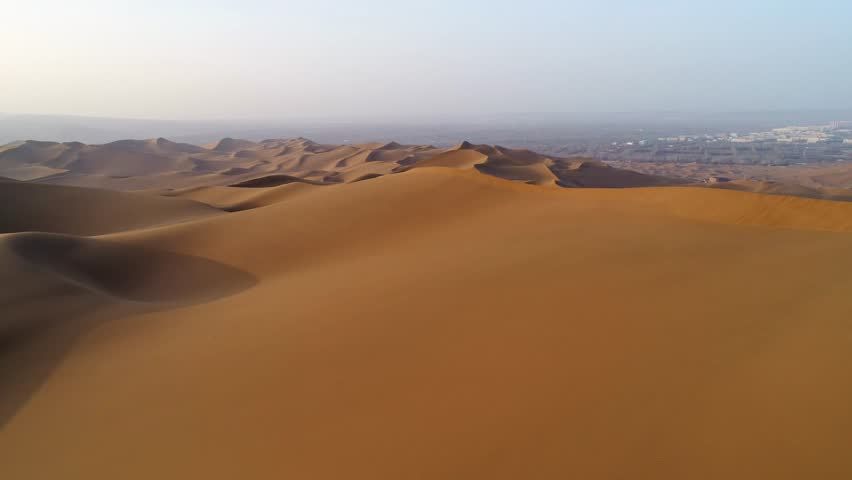 aerial view of sandy desert in xinjiang #32923228