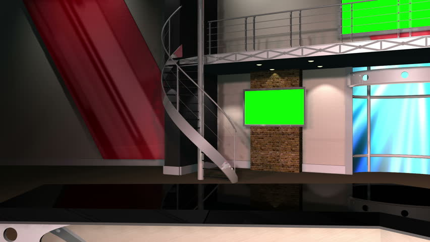 Virtual Set 12 - Left Anchor Newsroom Studio Background Shot | This is a virtual studio background that can be used in green screen video production to place your presenter into a newsroom.