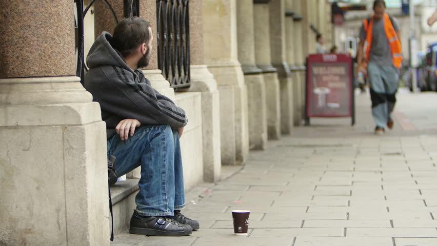 Bristol, England, Uk, August 15 2015-Homeless. Unemployed beggars living on the street.
