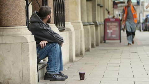 Bristol, England, Uk, August 15 2015-Homeless. Unemployed beggars living on the street.