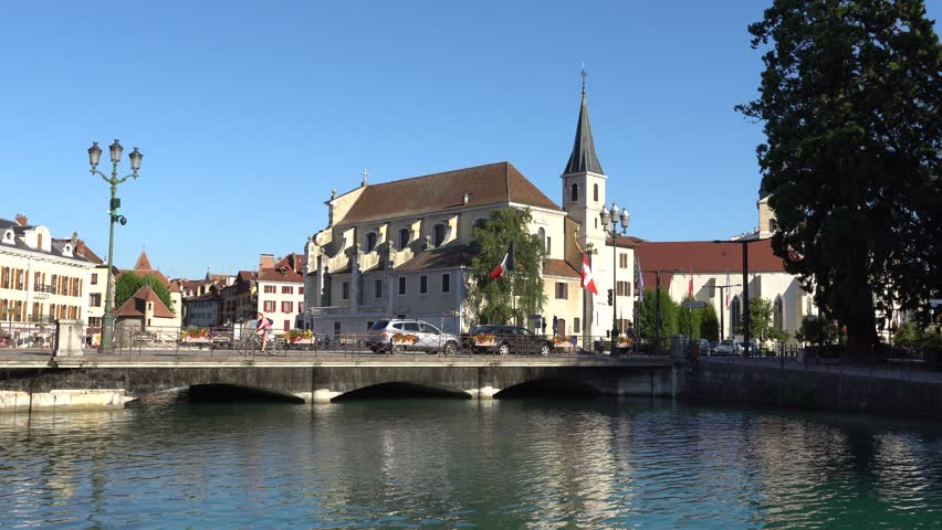 ANNECY FRANCE JULY 2017 View Of Historic Annecy City Center In