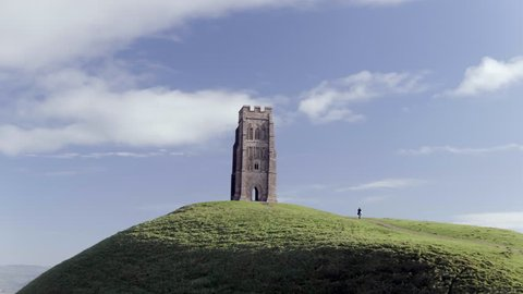 Aerial View of Glastonbury Tor and St Michael's Tower in Somerset, England
