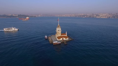 The Maiden's Tower from sky in Istanbul Turkey