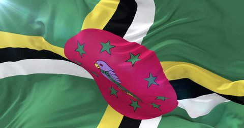 Flag of Dominica waving at wind with blue sky in slow, loop