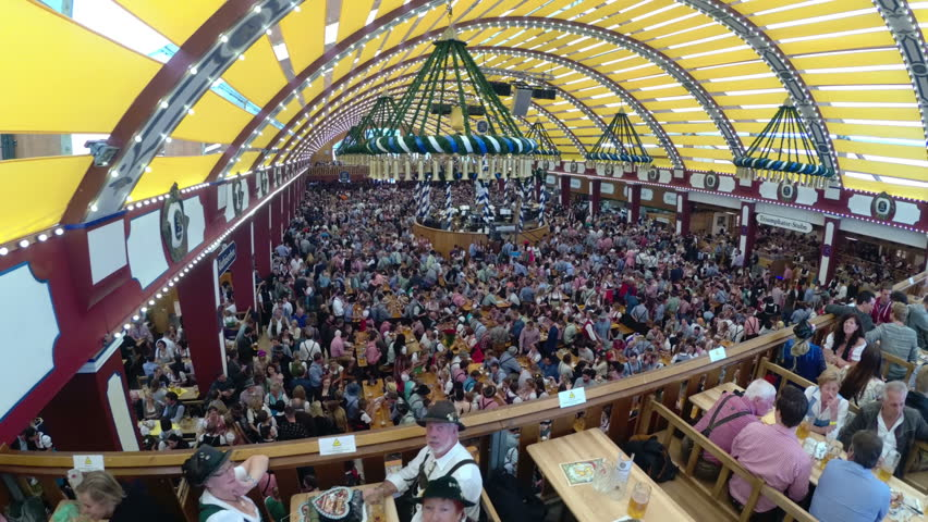 MUNICH GERMANY SEPTEMBER 16 2017 Celebration of Oktoberfest inside large beer tent & MUNICH GERMANY SEPTEMBER 16 2017: Celebration Of Oktoberfest In ...