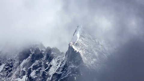 Khumbu Himalaya, view on Mountain Mt Everest before snowstorm. Time-lapse.