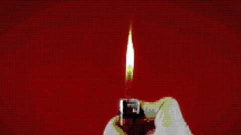 Operating a cigarette lighter. Colorful close-up shot on red background. ASCII art vintage PC terminal animation fx, from the time when computers didn't have pixel graphics.