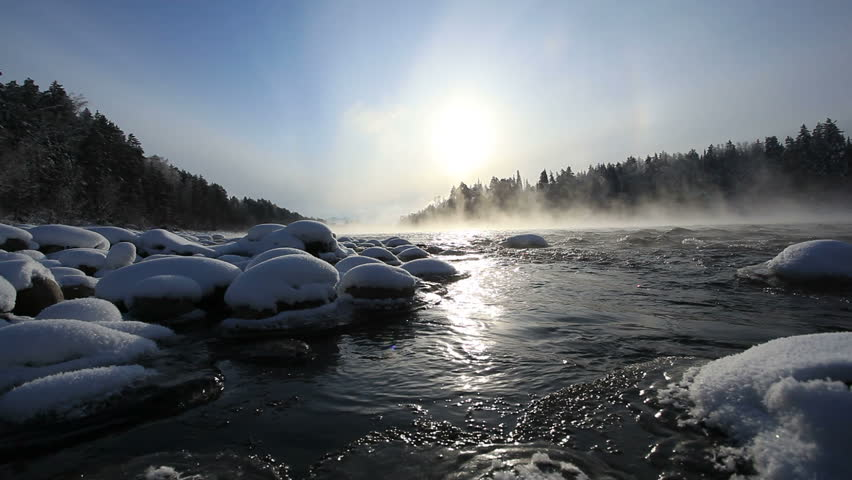 mountain river. winter
