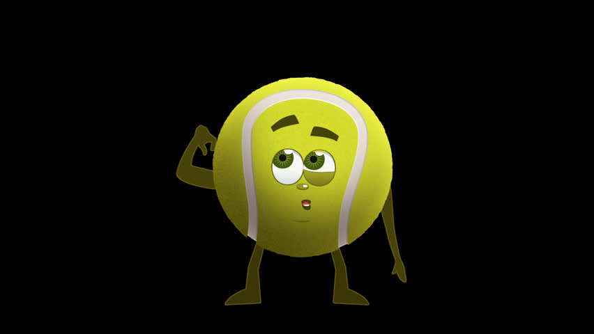 Cartoon Tennis Ball Think Animation with Alpha Channel
