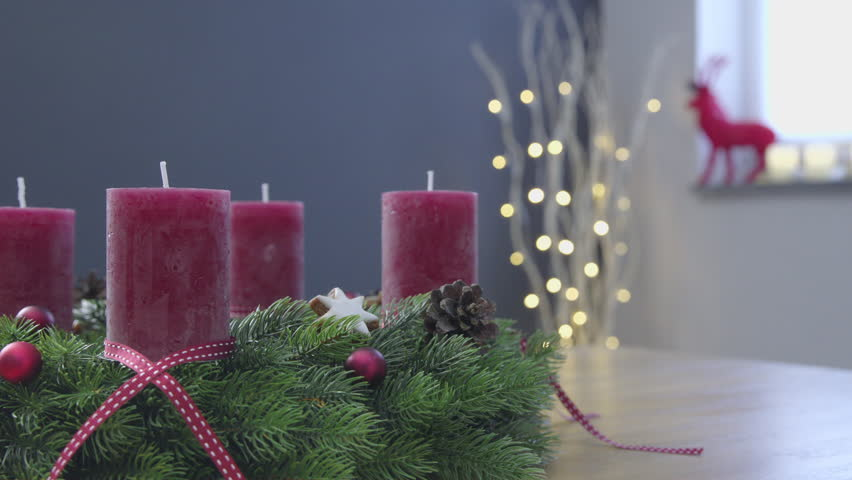 Lighting the candles of an advent wreath - sequence - ProRes