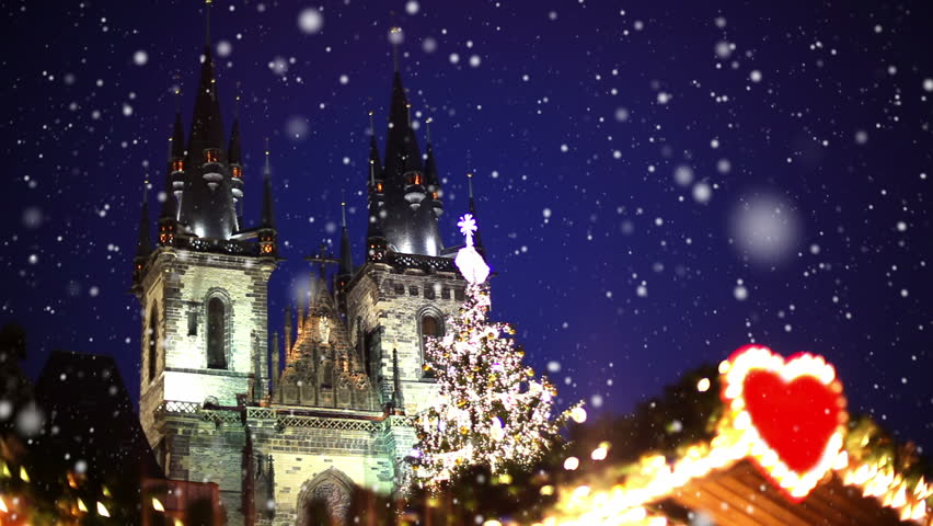 Snowfall In Prague. Christmas Atmosphere On Wenceslas Square ...