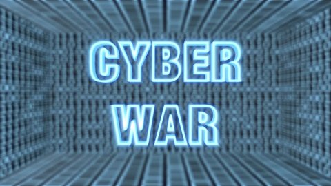 "Seamless looping 3d animated futuristic motherboard with the animated word ""Cyber War"" in 4K resolution"