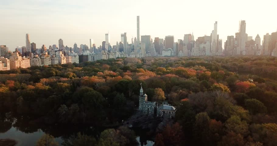New York panorama from Central park at sunset, aerial view